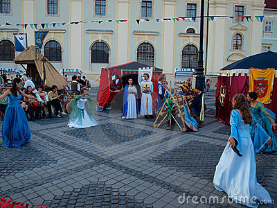 Medieval ladies dancing in sibiu Editorial Image