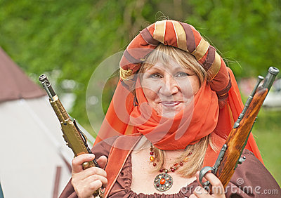 Medieval lady with two pistols Editorial Photography