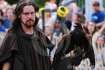 Medieval Man with Hawk, New York City Editorial Photography