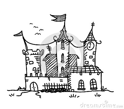 Stock Illustration Medieval Mansion Doodle Hand Drawn Vector Illustration Building Image63193333 on medieval map drawing
