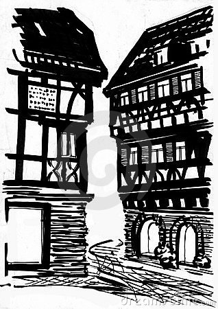 Medieval mansion drawing