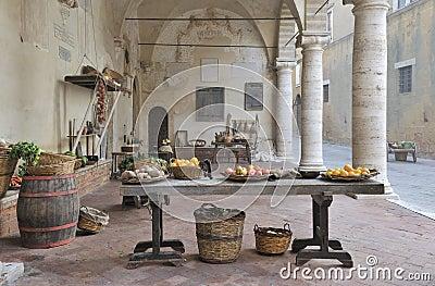 Medieval marketplace scene