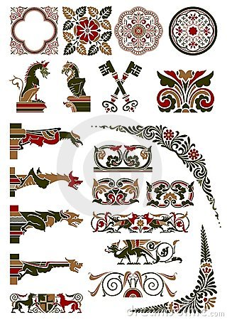 Free Medieval Motif Collection Royalty Free Stock Image - 12271376