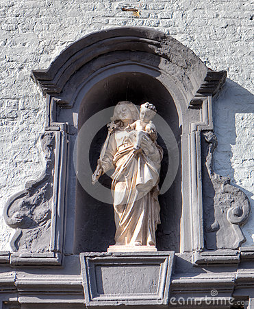 Medieval niche with the  Holy Virgin in the beguinage of Bruges / Brugge, Belgium