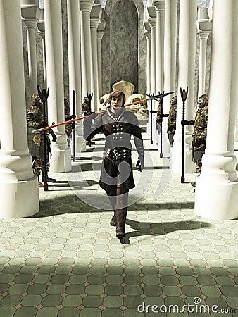 Free Medieval Or Fantasy Spearman Walking Through The Throneroom Stock Images - 30201344