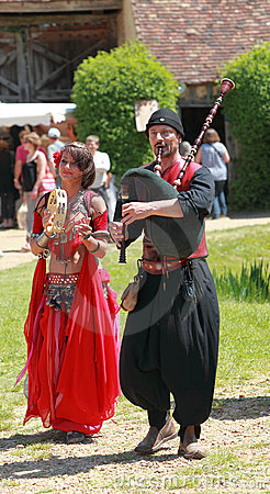 Medieval Oriental entertainers Editorial Stock Photo