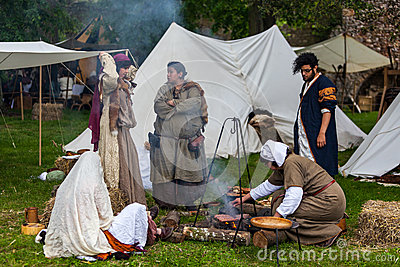 Medieval People Cooking Editorial Stock Image