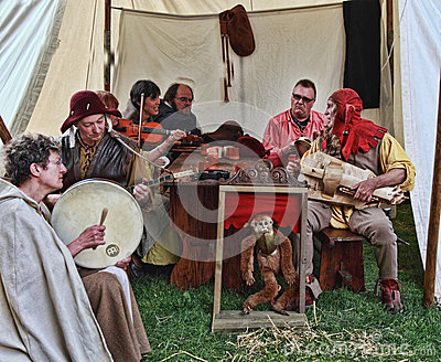 Medieval People Singing Editorial Stock Photo