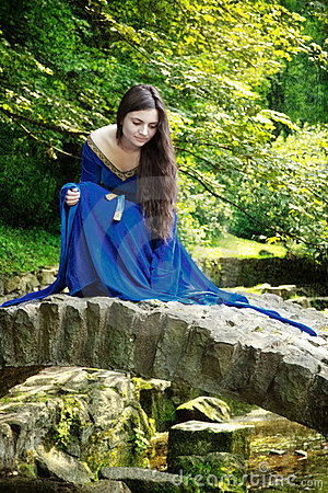 Free Medieval Princess On Stone Bridge Stock Photos - 15379733