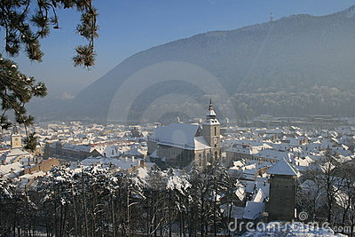Medieval rooftops of Brasov in winter.