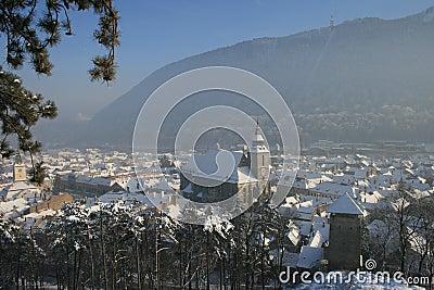 Medieval rooftops of Brasov in winter.