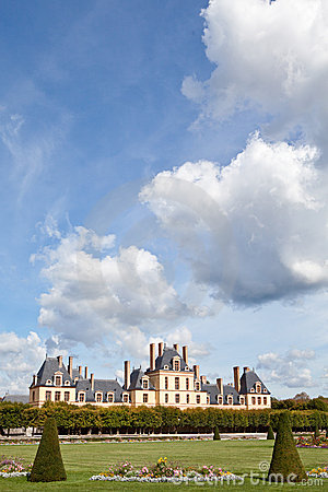 Medieval royal castle Fontainbleau near Paris