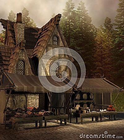 Medieval shop and market