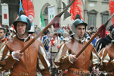 Medieval soldiers in a reenactment in Italy Editorial Image