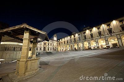 Medieval square in Arezzo (Tuscany) at night