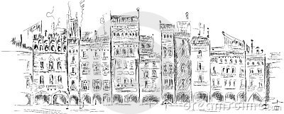 Medieval square front, handmade sketch
