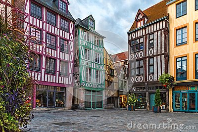 Medieval square with typical houses in old town of Rouen, Normandy, France Stock Photo