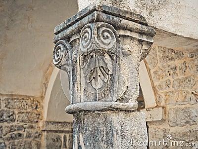 Medieval stone column in Trogir, Croatia