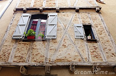 Medieval stone house windows