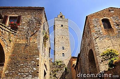 Medieval Stone Tower San Gimignano Italy