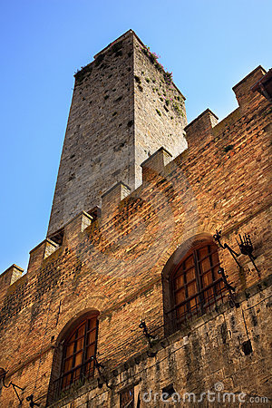 Medieval Stone Tower Town Hall San Gimignano Italy