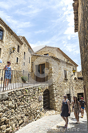 Medieval street in Catalonia Editorial Stock Photo