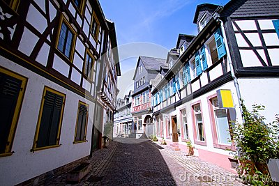 Medieval street with half-timbered houses