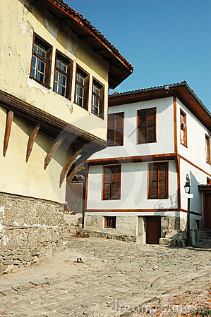 Medieval street of old city center in Plovdiv