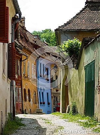 Medieval street in Sighisoara.