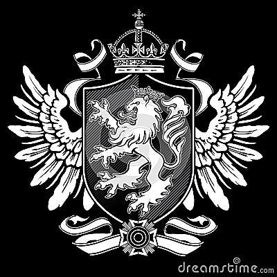 Heraldic Lion Wing Crest on Black