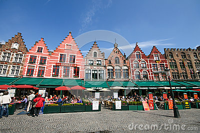 Medieval style house around Bruges market square Editorial Photography