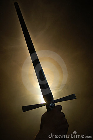 Free Medieval Sword Silhouette At Backlighting Stock Photography - 5351092