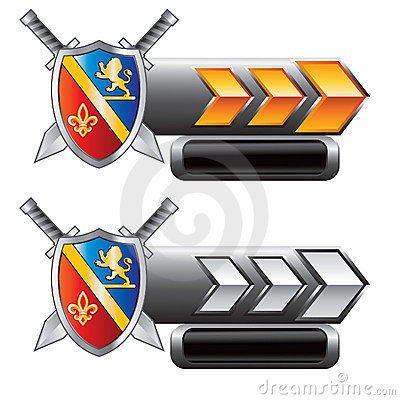 Medieval swords and shield on arrow nameplates