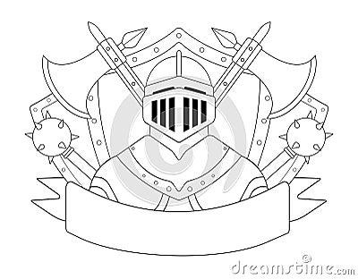 Medieval Templar Knight Armor Set. Contour Stock Vector - Image ...