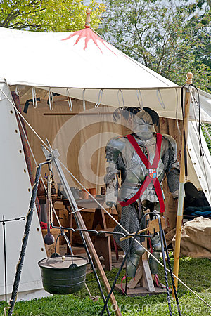 Medieval tent and armour Editorial Photo