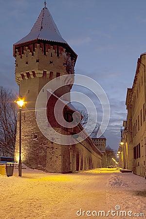Medieval tower Sibiu winter by dusk