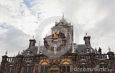 Medieval town hall in Delft