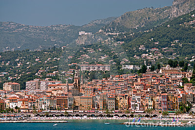 Medieval town Menton in french riviera
