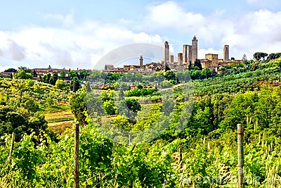 Medieval town and Tuscan countryside