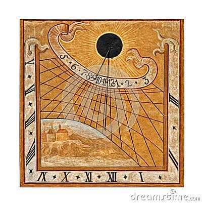 Medieval wall sun-dial cutout