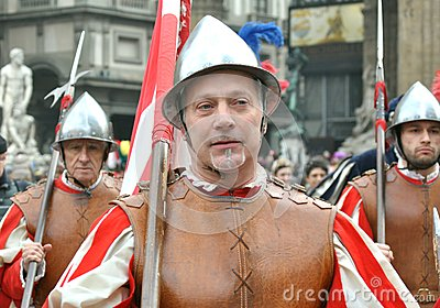 Medieval warriors in a reenactment parade in Italy Editorial Photo