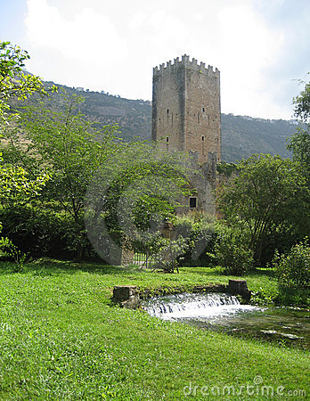 Medieval watchtower and gardens