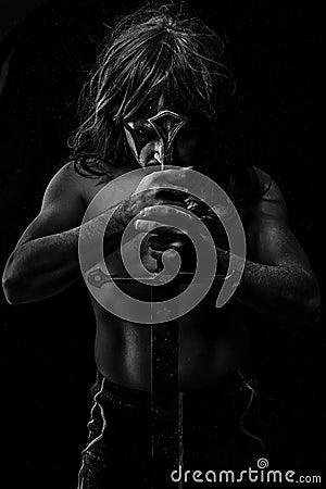 Free Medieval, Wild Warrior With Huge Metal Sword Stock Image - 36239181
