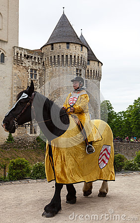 Medieval Woman Horseback Riding Editorial Stock Image