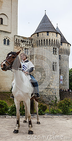 Medieval Woman Riding a Horse Editorial Photo