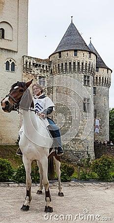 Medieval Woman Riding a Horse Editorial Photo