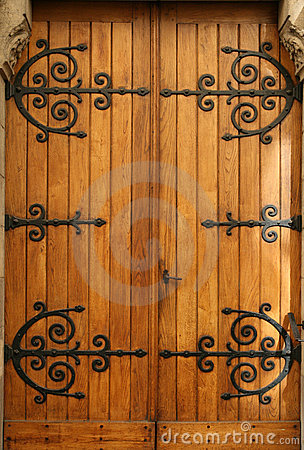 Medieval Wood Door Wrought Iron Details Royalty Free