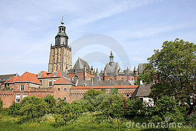 Medieval Zutphen, town wall and Walburgis church