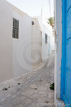 Medina s street in Sousse with white architectures