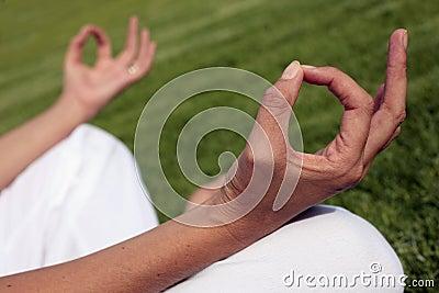 Meditación en un césped